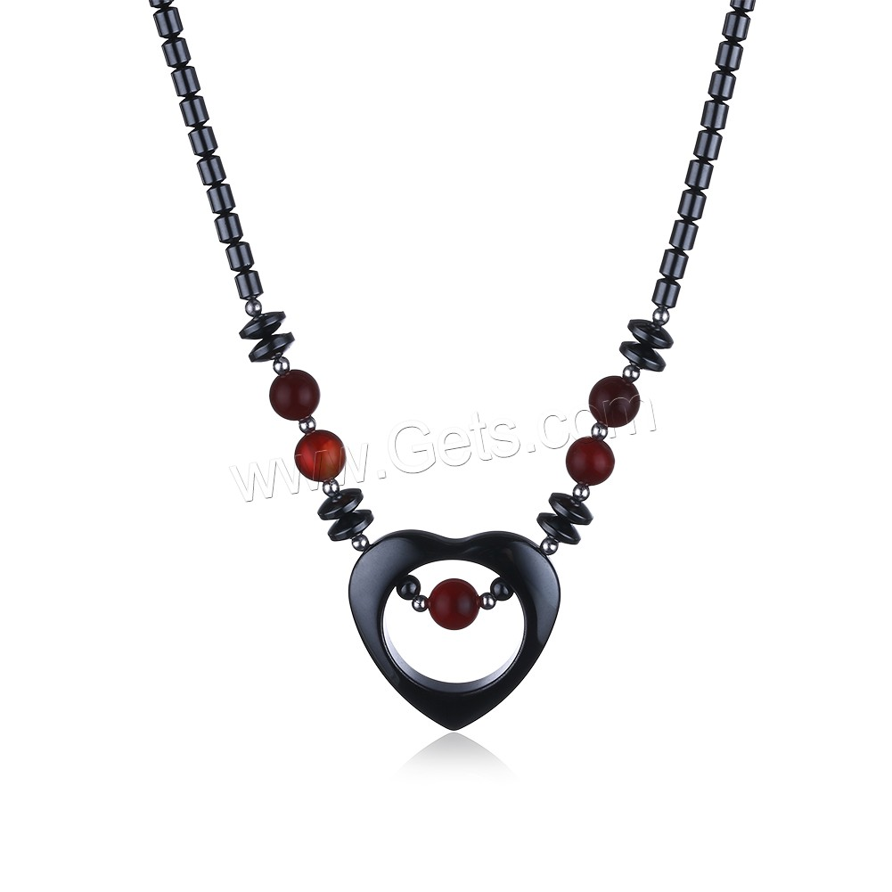 comeon® Jewelry Necklace, Non Magnetic Hematite, with Red Agate & Zinc Alloy, Heart, platinum color plated, natural & for woman, 34x33mm, Length:Approx 17.7 Inch, Sold By Strand