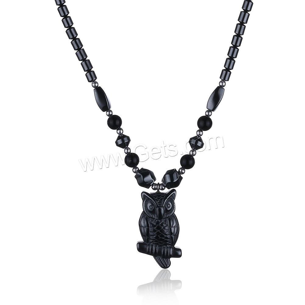 comeon® Jewelry Necklace, Non Magnetic Hematite, with Black Agate & Zinc Alloy, Owl, platinum color plated, natural & for woman, 19x36mm, Length:Approx 17.7 Inch, Sold By Strand