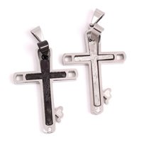 Stainless Steel Couple Pendant, Cross, plated, with rhinestone & hollow, more colors for choice, 32x48x3mm, Hole:Approx 4x8mm, Sold By Pair