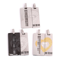 Stainless Steel Couple Pendant, Rectangle, plated, with letter pattern & hollow, more colors for choice, 31x35x3mm, Hole:Approx 4x8mm, Sold By Pair