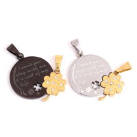 Stainless Steel Couple Pendant, word love, plated, with rhinestone & hollow, more colors for choice, 33x34x3mm, Hole:Approx 4x8mm, Sold By Pair