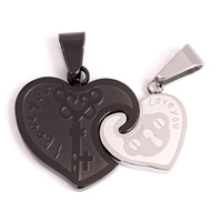 Stainless Steel Couple Pendant, Heart, plated, with letter pattern, 32x24x3mm, Hole:Approx 4x8mm, Sold By Pair