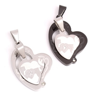 Stainless Steel Couple Pendant, Heart, plated, with letter pattern & with rhinestone, more colors for choice, 16x21x3mm, 26x34xmm, Hole:Approx 4x8mm, Sold By Pair