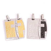 Stainless Steel Couple Pendant, word love, plated, with rhinestone, more colors for choice, 30x31x3mm, Hole:Approx 4x8mm, Sold By Pair