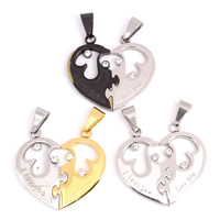 Stainless Steel Couple Pendant, Heart, plated, with letter pattern & with rhinestone & hollow, more colors for choice, 33x31x3mm, Hole:Approx 4x8mm, Sold By Pair