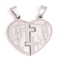 Stainless Steel Couple Pendant, Heart, with letter pattern, original color, 34x32x3mm, Hole:Approx 4x8mm, Sold By Pair