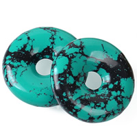 Natural Turquoise Beads, Donut, green, 30x9mm, Hole:Approx 1-2mm, Sold By PC