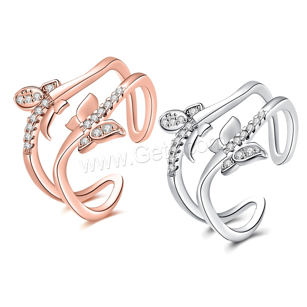 comeon® Finger Ring, Brass, Butterfly, plated, open & for woman & with cubic zirconia, more colors for choice, 17mm, US Ring Size:8, Sold By PC