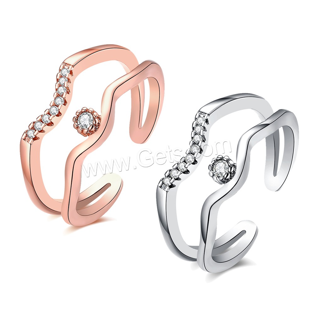 comeon® Finger Ring, Brass, plated, open & for woman & with cubic zirconia, more colors for choice, 9mm, US Ring Size:8, Sold By PC
