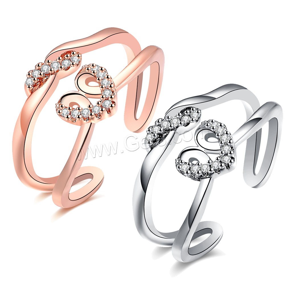 comeon® Finger Ring, Brass, Heart, plated, open & for woman & with cubic zirconia, more colors for choice, 11mm, US Ring Size:8, Sold By PC