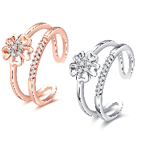 comeon® Finger Ring, Brass, Flower, plated, open & for woman & with cubic zirconia, more colors for choice, 10mm, US Ring Size:8, Sold By PC