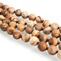 Picture Jasper Beads, Round, natural, different length for choice & frosted, 8mm, Hole:Approx 1mm, Sold By Strand