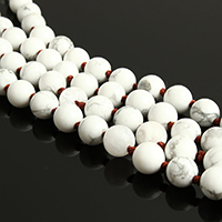 Natural White Turquoise Beads, Round, different length for choice, 8mm, Hole:Approx 1mm, Sold By Strand
