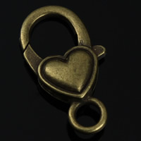 Zinc Alloy Lobster Clasp, Heart, antique bronze color plated, lead & cadmium free, 22x15mm, Hole:Approx 2mm, 10PCs/Bag, Sold By Bag
