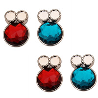 Crystal Jewelry Pendants, Copper Coated Plastic, with Crystal, Bowknot, rose gold color plated, faceted, mixed colors, 22x32mm, Hole:Approx 1.5mm, 30PCs/Bag, Sold By Bag