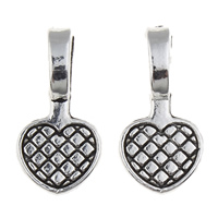 Zinc Alloy Glue on Bail, Heart, antique silver color plated, lead & cadmium free, 10x20x6mm, Hole:Approx 4x7mm, 100G/Bag, Sold By Bag