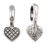 Zinc Alloy Glue on Bail, Heart, antique silver color plated, lead & cadmium free, 10x21x7mm, Hole:Approx 5x8mm, 100G/Bag, Sold By Bag