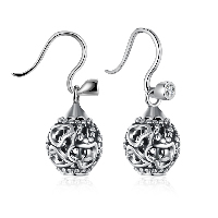 comeon® Jewelry Earring, 925 Sterling Silver, Round, with heart pattern & micro pave cubic zirconia & for woman & hollow & blacken, 11x17mm, Sold By Pair