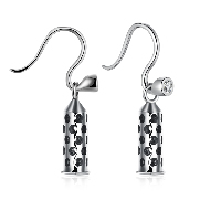 comeon® Jewelry Earring, 925 Sterling Silver, Cone, micro pave cubic zirconia & for woman & hollow & blacken, 5x17mm, Sold By Pair