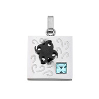 Cubic Zirconia Stainless Steel Pendant, Square, plated, with cubic zirconia & two tone, 18x22x4mm, Hole:Approx 2.7x4mm, Sold By PC