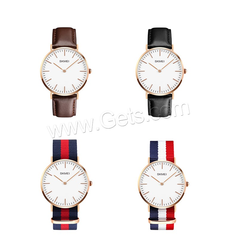 comeon® Unisex Jewelry Watch, Cowhide, with Nylon Cord & Glass & Zinc Alloy, Chinese movement, plated, different materials for choice, 40mm, Length:Approx 9.8 Inch, Sold By PC