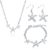 comeon® Jewelry Set, Brass, bracelet & earring & necklace, with 1.9lnch extender chain, Starfish, silver color plated, rolo chain & for woman, 26x22mm, 26x22mm, 20x41mm, Length:Approx 7.8 Inch, Approx 17.7 Inch, Sold By Set