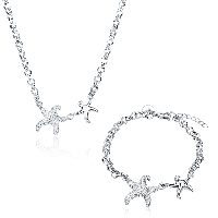 comeon® Jewelry Set, Brass, bracelet & necklace, with 1.9lnch extender chain, Starfish, silver color plated, rolo chain & for woman, 26x22mm, 26x22mm, Length:Approx 17.7 Inch, Approx 7.8 Inch, Sold By Set