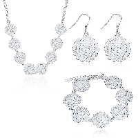 comeon® Jewelry Set, Brass, bracelet & earring & necklace, with 1.9lnch extender chain, Flower, silver color plated, rolo chain & for woman, 26x20mm, 26x20mm, 20x36mm, Length:Approx 17.7 Inch, Approx 7.8 Inch, Sold By Set