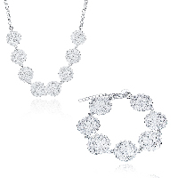 comeon® Jewelry Set, Brass, earring & necklace, with 1.9lnch extender chain, Flower, silver color plated, rolo chain & for woman, 26x20mm, 26x20mm, Length:Approx 17.7 Inch, Approx 7.8 Inch, Sold By Set