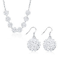 comeon® Jewelry Set, Brass, earring & necklace, with 1.9lnch extender chain, Flower, silver color plated, rolo chain & for woman, 26x20mm, 20x36mm, Length:Approx 17.7 Inch, Sold By Set