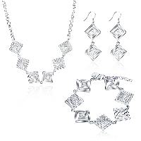 comeon® Jewelry Set, Brass, bracelet & earring & necklace, with 1.9lnch extender chain, Rhombus, silver color plated, rolo chain & for woman & hollow, 27x20mm, 26x20mm, 20x61mm, Length:Approx 17.7 Inch, Approx 7.8 Inch, Sold By Set