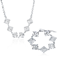 comeon® Jewelry Set, Brass, bracelet & necklace, with 1.9lnch extender chain, Rhombus, silver color plated, rolo chain & for woman & hollow, 27x20mm, 26x20mm, Length:Approx 17.7 Inch, Approx 7.8 Inch, Sold By Set
