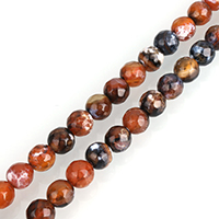 Natural Fire Agate Beads, Round, different size for choice & faceted, Hole:Approx 1mm, Length:Approx 14.5 Inch, Sold By Strand