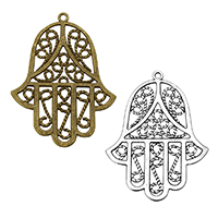 Zinc Alloy Hamsa Pendants, plated, Islamic jewelry & hollow, more colors for choice, 46.5x62x1.5mm, Hole:Approx 2.1mm, Sold By PC