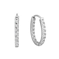 Cubic Zirconia Micro Pave Sterling Silver Earring, 925 Sterling Silver, micro pave cubic zirconia, 2.5x21x15mm, Sold By Pair