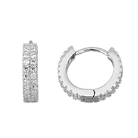 Cubic Zirconia Micro Pave Sterling Silver Earring, 925 Sterling Silver, micro pave cubic zirconia, 3.5x14.5x15.5mm, Sold By Pair