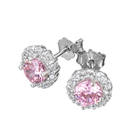 Cubic Zirconia Micro Pave Sterling Silver Earring, 925 Sterling Silver, micro pave cubic zirconia, 9x16mm, Sold By Pair