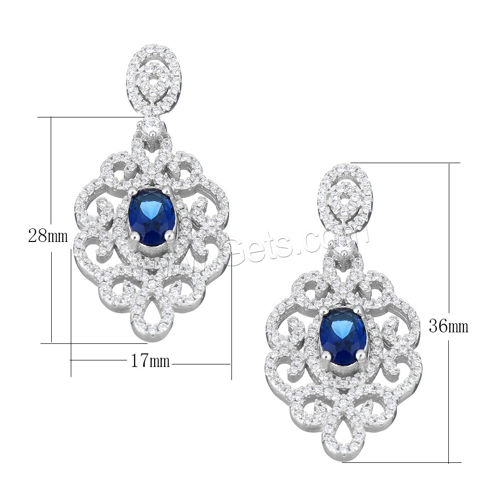 Cubic Zirconia Micro Pave Sterling Silver Pendant, 925 Sterling Silver, micro pave cubic zirconia & faceted, 17x28x5mm, 36mm, Hole:Approx 1.3x3mm, Sold By PC