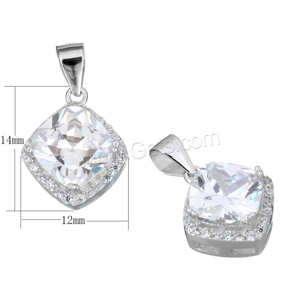 Cubic Zirconia Micro Pave Sterling Silver Pendant, 925 Sterling Silver, Rhombus, micro pave cubic zirconia & faceted, 12x14x7mm, Hole:Approx 3.5x4.5mm, Sold By PC
