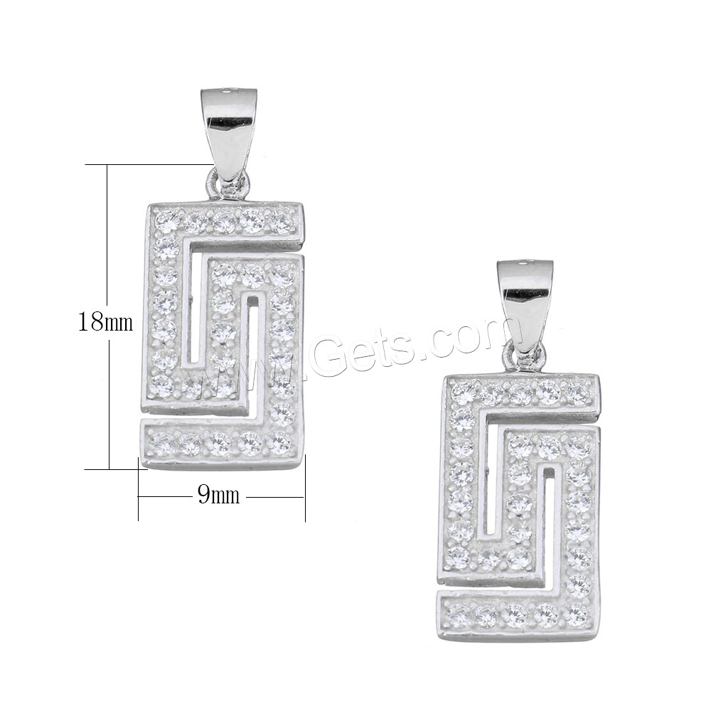 Cubic Zirconia Micro Pave Sterling Silver Pendant, 925 Sterling Silver, Rectangle, micro pave cubic zirconia, 9x18x2mm, Hole:Approx 3.5x4mm, Sold By PC