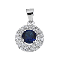 Cubic Zirconia Micro Pave Sterling Silver Pendant, 925 Sterling Silver, micro pave cubic zirconia & faceted, 12.5x15x6mm, Hole:Approx 3x4mm, Sold By PC