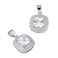 Cubic Zirconia Micro Pave Sterling Silver Pendant, 925 Sterling Silver, Square, micro pave cubic zirconia & faceted, 12x14.5x6mm, Hole:Approx 3.5x4mm, Sold By PC