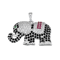 Cubic Zirconia Micro Pave Sterling Silver Pendant, 925 Sterling Silver, Elephant, micro pave cubic zirconia, 28.5x17x5mm, Hole:Approx 2.6x3.8mm, Sold By PC