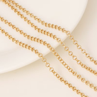 Brass Rolo Chain, 24K gold plated, 3x0.5mm, 1m/Strand, Sold By Strand