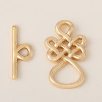 Brass Toggle Clasp, Chinese Knot, gold color plated, single-strand, 22x2mm, 18x2mm, Hole:Approx 6mm, 2.5mm, Sold By Set