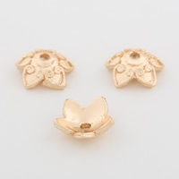Brass Bead Cap, Flower, gold color plated, 10mm, Hole:Approx 1.2mm, Sold By PC