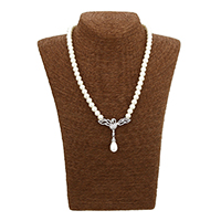 Cubic Zircon Micro Pave Brass Necklace, Glass Pearl, with Brass, Phoenix, platinum plated, micro pave cubic zirconia & for woman, 46x47x10mm, 7x8x8mm, Length:Approx 19.5 Inch, Sold By Strand