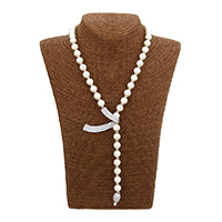 Cubic Zircon Micro Pave Brass Necklace, Glass Pearl, with Brass, platinum plated, micro pave cubic zirconia & for woman, 53x35x2mm, 10x9.5x10mm, Length:Approx 18.5 Inch, Sold By Strand