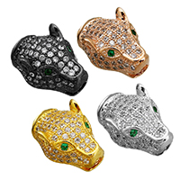 Cubic Zirconia Micro Pave Brass Beads, Leopard, plated, micro pave cubic zirconia, more colors for choice, 10x15x7mm, Hole:Approx 2mm, 3.5x2mm, Sold By PC