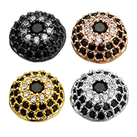 Cubic Zirconia Micro Pave Brass Beads, plated, micro pave cubic zirconia, more colors for choice, 9.5x9.5x6mm, Hole:Approx 1mm, Sold By PC